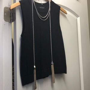 Long necklace- taupe leather tassels
